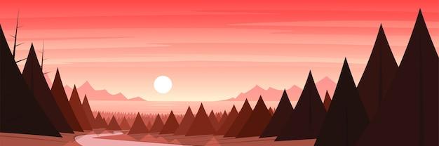 Forest coast and sun landscape scene