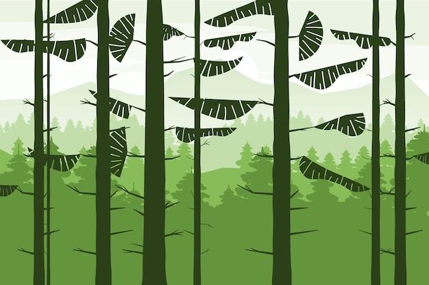 Лесные хвойные стволы елей silhoutte, летний лес холмов.