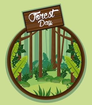 円形フレームの木製ラベルと森の日の風景
