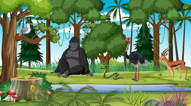 Forest at daytime scene with different wild animals