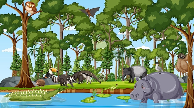 Forest at daytime scene with many different wild animals