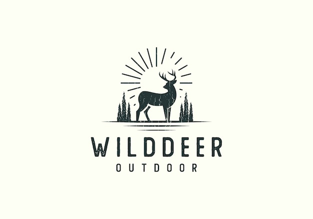 Forest deer adventure logo illustration