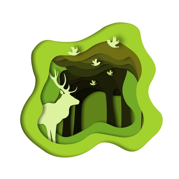 Forest, deer and birds. paper cut style.