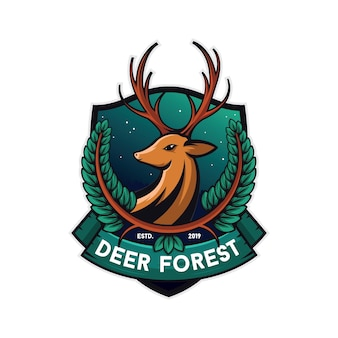 Forest deer illustration, white background