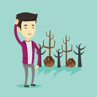 Лес уничтожен пожаром или глобальным потеплением.