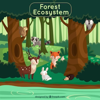 Forest ecosystem concept with lovely animals