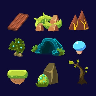 Forest elements for game set