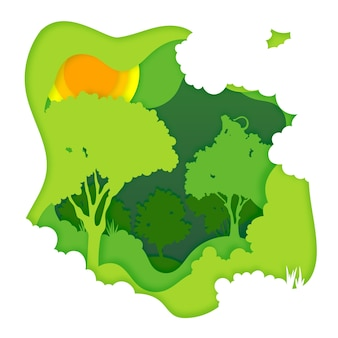 Экологическая концепция леса в стиле бумаги