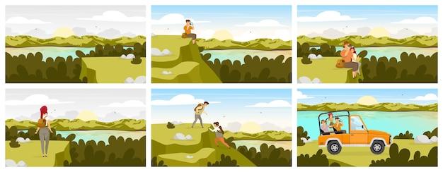 森林探検フラット。緑の風景に車で観光グループ。川の流れ、水域。男と女が座っています。丘を登る人々。女性と男性の漫画のキャラクター