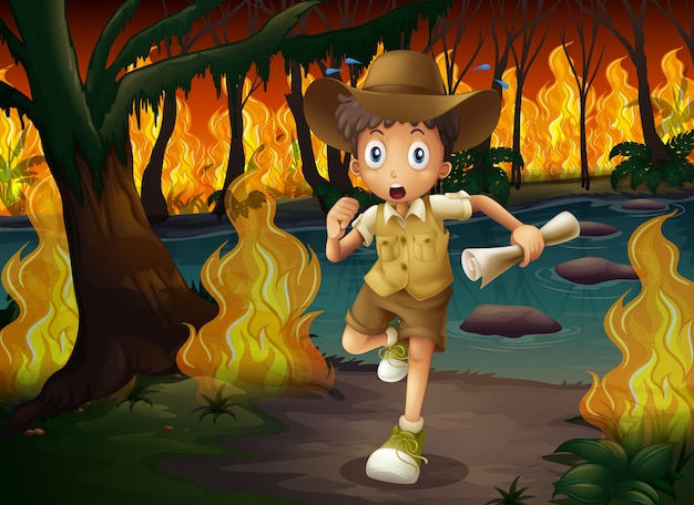 Forest explorer running from wildfire