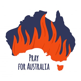 Forest fires in australia. pray for sydney and pray for australia illustration