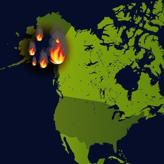 からの煙とくすぶりを燃やす新聞の地図災害の森林火災バナー暖炉