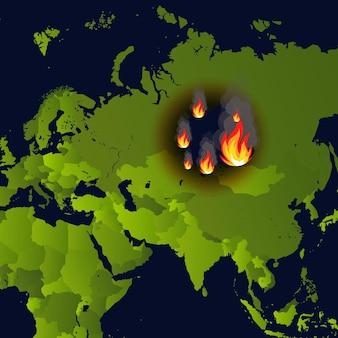 Лесные пожары баннер место пожара на карте катастрофа в российской газете сибири, горит дым и