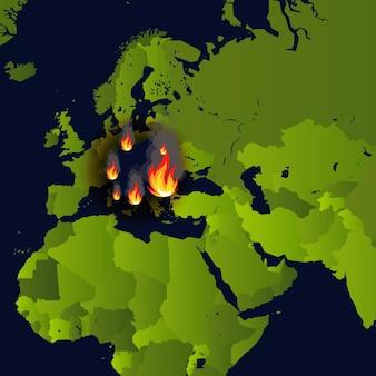 火事で煙やくすぶりを燃やす地図上の山火事バナー暖炉