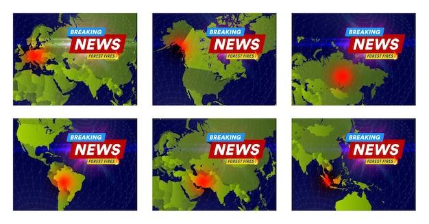 산불 신문 헤드라인 개념은 뉴스를 위한 세계 지도 배너 디자인 서식 파일의 장소를 발생시킵니다.