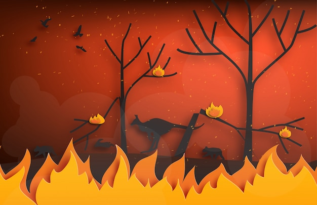 Forest fires with silhouettes of wild animals fleeing fire in paper cut style.