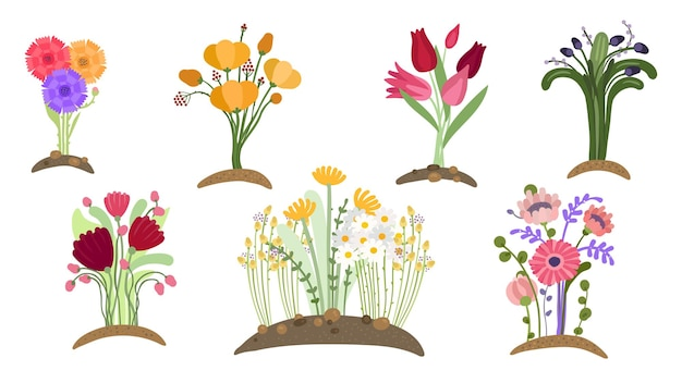 숲 꽃 정원. 봄 꽃 심기, 간단한 원예. 꽃밭, 고립 된 꽃다발 성장. 봄 날 식물 벡터 세트. 그림 초기 꽃 꽃, 단풍 장식 식물학