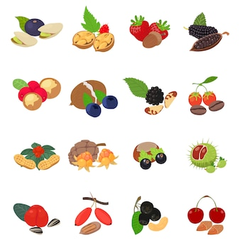 Forest food icon set