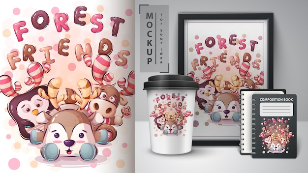 Forest friends poster and merchandising