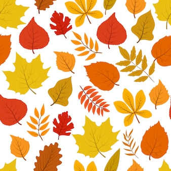 Forest golden autumn leaves seamless autumnal pattern