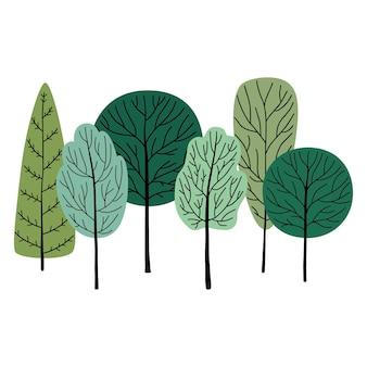 Лес, зеленые деревья