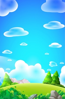 Forest hill, jungle mountains clouds trees stones nature land light