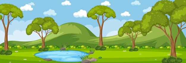 많은 나무가 있는 낮 시간의 숲 가로 장면