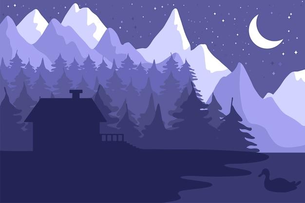 밤 침 엽 수림 숲에서 숲 집 프리미엄 벡터