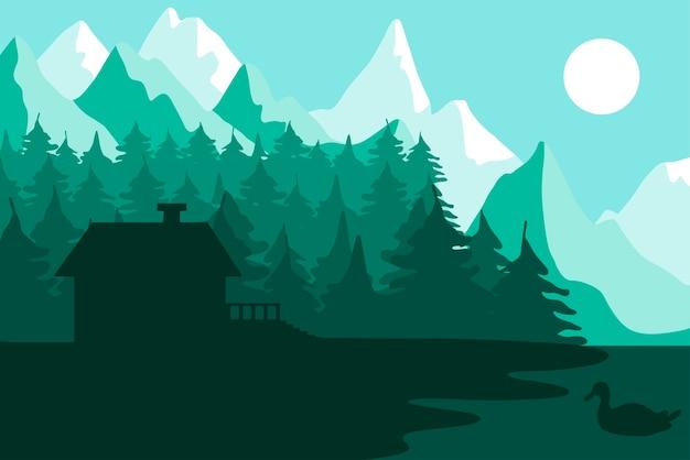 山の近くの森の家。川と公園の風景と森。夕日のパノラマ。湖とアヒルのある自然の風景。ベクター