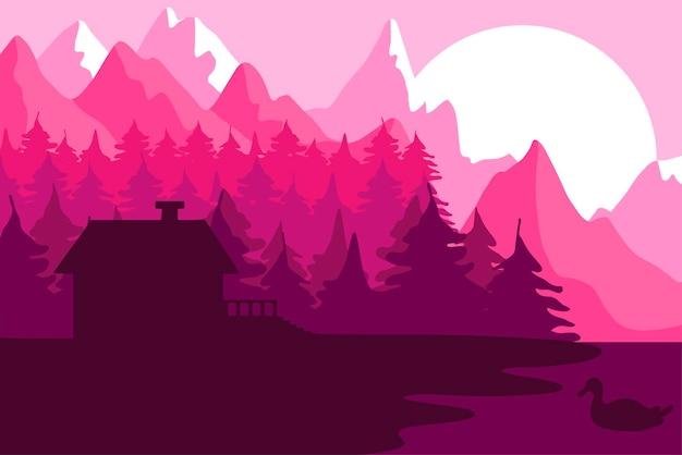 산 근처 숲의 집입니다. 강과 공원 풍경이 있는 숲. 일몰 파노라마입니다. 호수와 오리가 있는 자연 장면. 벡터