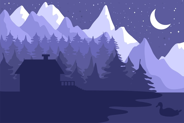 Forest house in the night coniferous forest