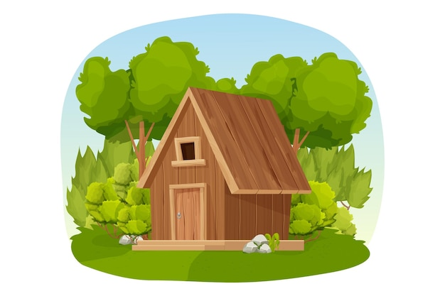 Forest hut wooden house or cottage decorated with trees grass and bush in cartoon style isolated