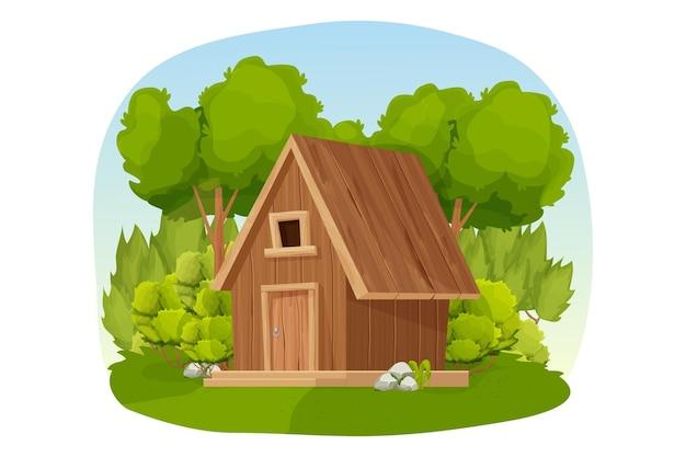孤立した漫画風の木草や茂みで飾られた森の小屋の木造住宅やコテージ