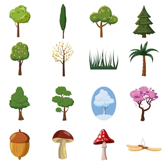 Forest icons set, cartoon style