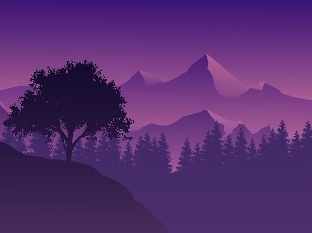 Лес на фоне горного пейзажа