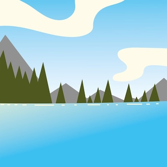 숲 호수 나무 산 현장