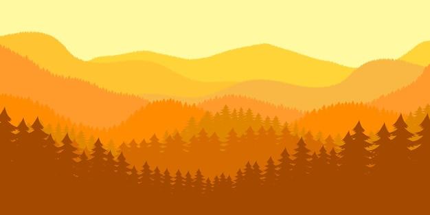 Forest landscape background  illustration