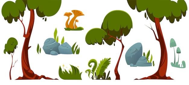 Элементы лесного ландшафта, деревья, зеленая трава, камни и грибы.