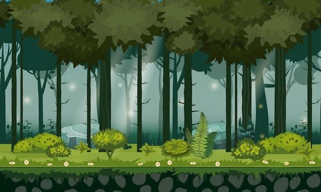 Лесной пейзаж горизонтальный бесшовный фон