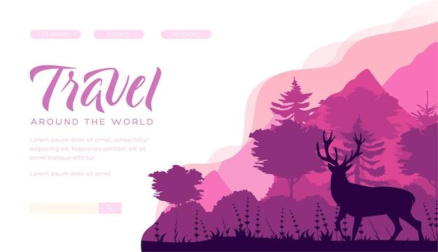 Минималистичный лесной пейзаж иллюстрации. благородный силуэт оленя. домашняя страница сайта о диких животных