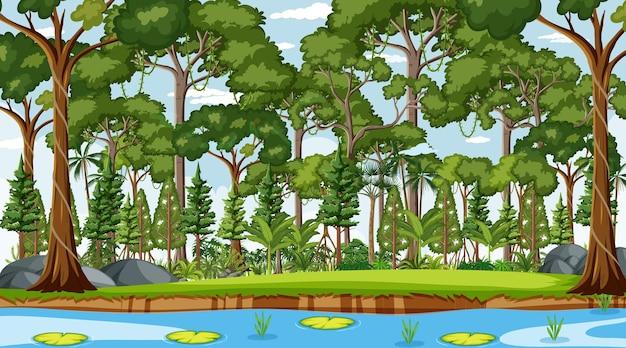 낮 시간에 숲 풍경 장면