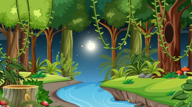 Forest landscape scene at night with many different trees Free Vector