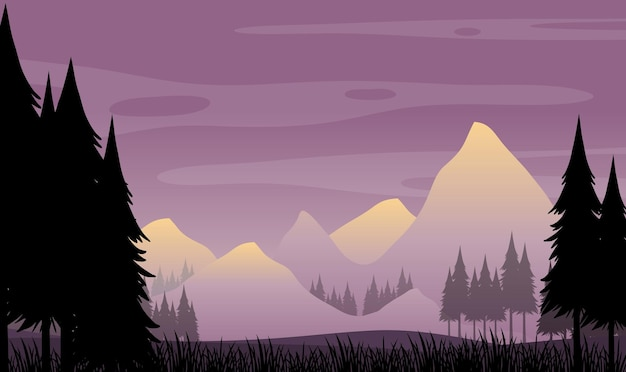 森の風景のシルエットの背景