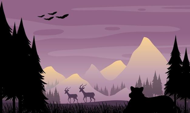 Priorità bassa della siluetta del paesaggio della foresta