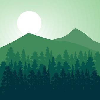 Лесной пейзаж вектор