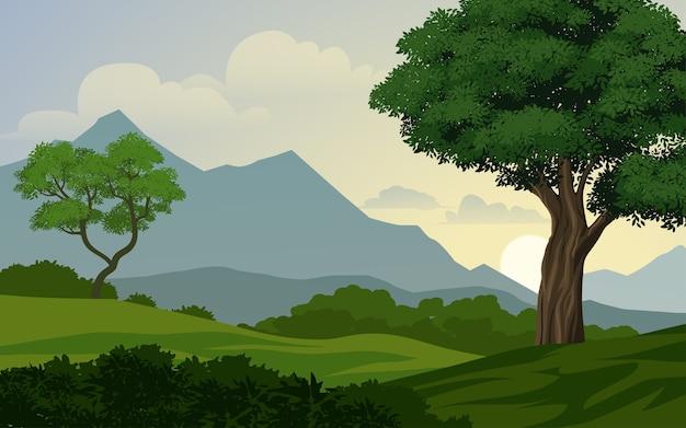 山のある森の風景