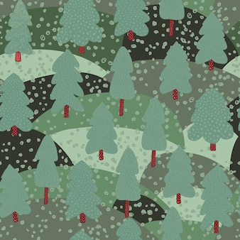 Forest lanscape seamless pattern.