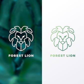 Modello di logo del leone della foresta