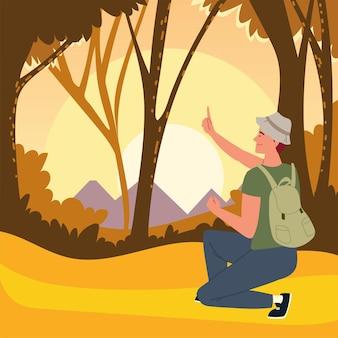 Лес человек закат деревья пейзаж