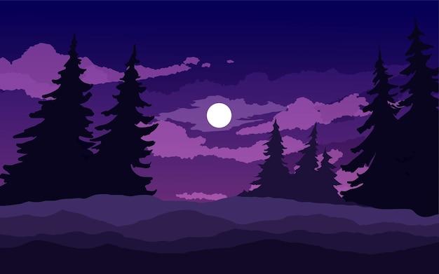 나무와 숲 달빛